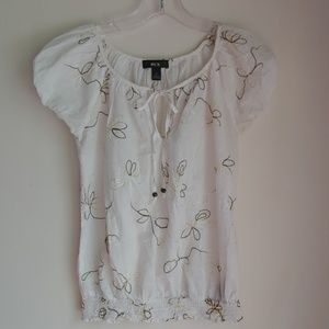 BCX EMBROIDERED PEASANT TOP SMALL